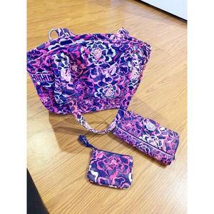 Vera Bradley Glenna Shoulder Bag Purse TOTE  set